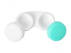 Kontaktlēcu konteineris - zaļā un baltā krāsā