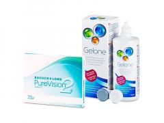 PureVision 2 (3 lēcas) + Gelone Šķīdums 360 ml