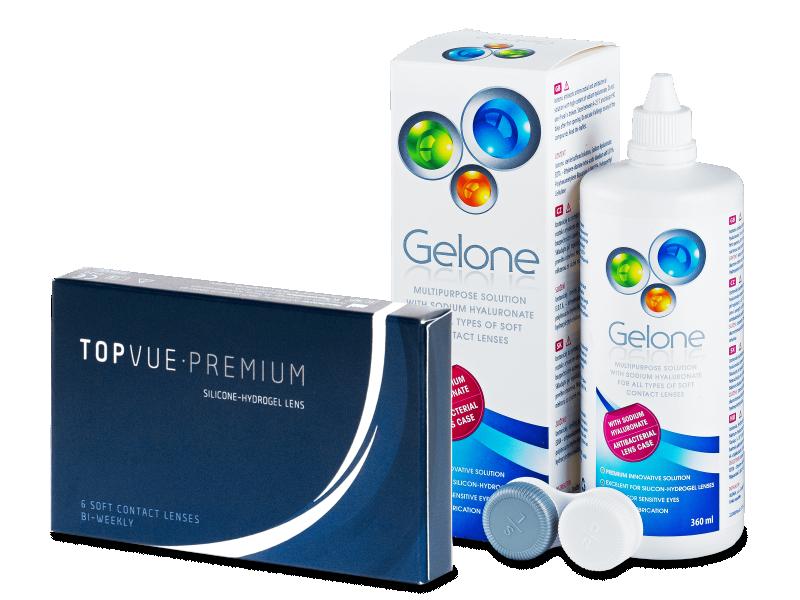 TopVue Premium (6 kontaktlēcas) +Gelonešķīdums 360ml