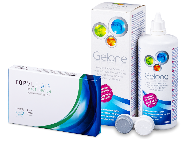 TopVue Air for Astigmatism (3lēcas) + Gelone Šķīdums 360 ml