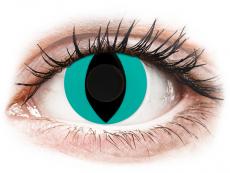 CRAZY LENS - Cat Eye Aqua - dienas bez dioptrijas (2 lēcas)
