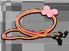 Briļļu aukliņa rozā un dzeltenā krāsā- tauriņš